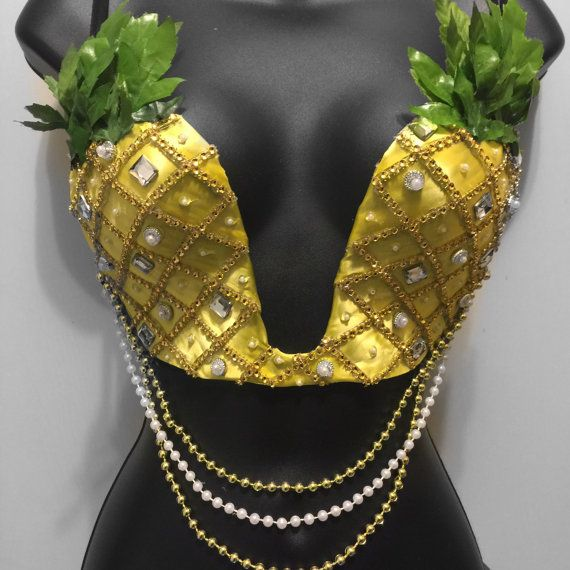 Pineapples Bra: deep plunge rave wear festival by RichMahoganyLife