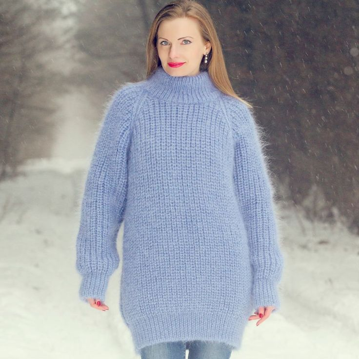 SUPERTANYA Hand Knitted Mohair Sweater Ribbed Turtleneck BLUE Soft Polo Jumper #SuperTanya #Doublefoldedpolo