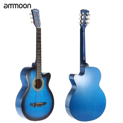 ammoon 38 6-String Cutaway Folk Acoustic Guitar with Bag Strap String Tuner Pick for Beginners Music Lovers Students
