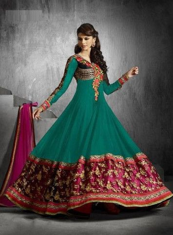 Green Faux Georgette Salwar Kameez ,Indian Dresses - 1