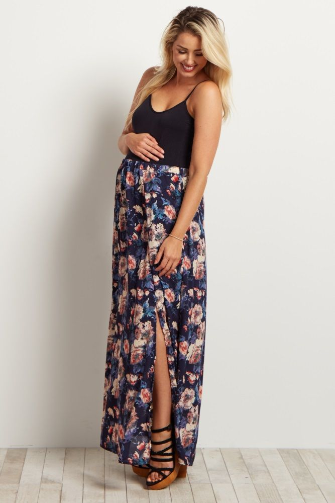 The perfect maternity maxi skirt you can feel beautiful in all summer long. This lightweight chiffon skirt goes perfectly with any maternity tank or crop top and looks gorgeous for any occasion. Style it with sandals and a statement necklace for a complete ensemble.