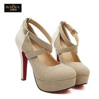 2015 новое поступление летом стиль сексуальные красные нижние высокие каблуки платформы круглые обувь пальца ноги женщины туфли на высоком каблуке ночной клуб сандалии бежевый и черный