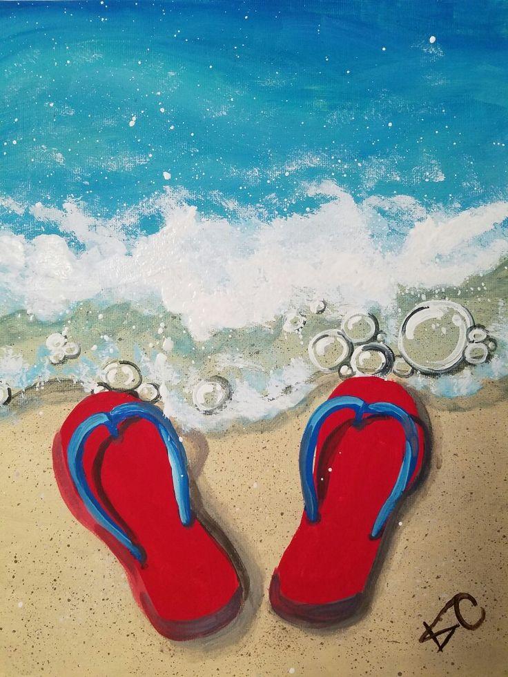 """Flip Flops on the Beach"", canvas painting class by Kim Cesaretti, instructor demo copy"