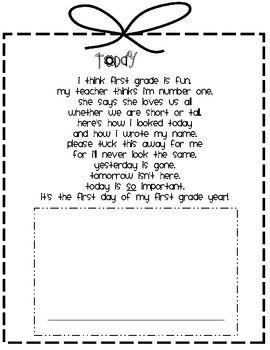 First Day of 1st Grade Poem - Kelly Conner - TeachersPayTeachers.com