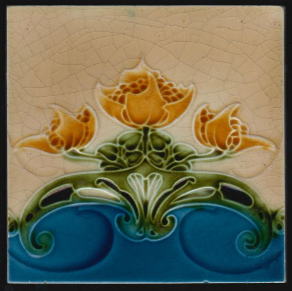 H. Richards Art Nouveau tile Art Nouveau tile by H. Richards Tile Co. Relief Flower decoration in green and orange on blue and cream ground. Tile is in good condition some residu of lime mortar on back. Tile has registration number 444998 for 1904.  AN 1404 England date: C 1904