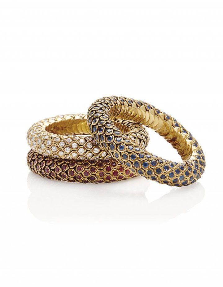 Three sapphire, ruby or diamond 'Honeycomb' bracelets, by René Boivin THE PROPERTY OF MADAME HÉLÈNE ROCHAS Estimate: SFr.60,000-75,000/ US$6...