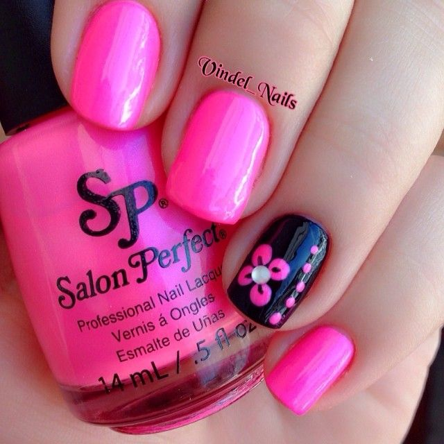 Bright pink nails with black accent nail with flower nail art - 25+ Trending Pink Black Nails Ideas On Pinterest Black And Nude