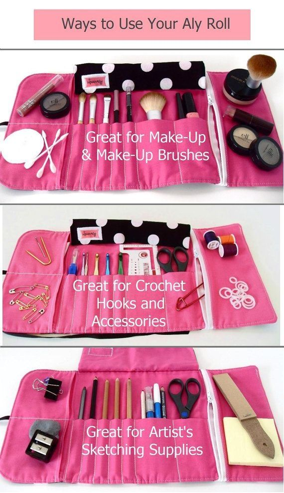 MakeUp Brush Roll Crochet Hook Case Pencil Roll in by UpUrAly by shelby