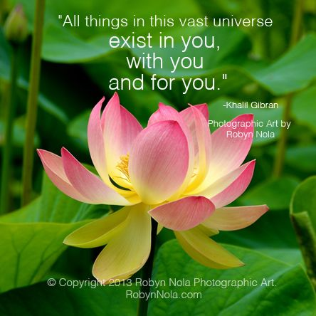 """""""All things in this vast universe exist in you, with you and for you."""" -Khalil Gibran #lotus #quotes  ♥ Art by RobynNola.com"""