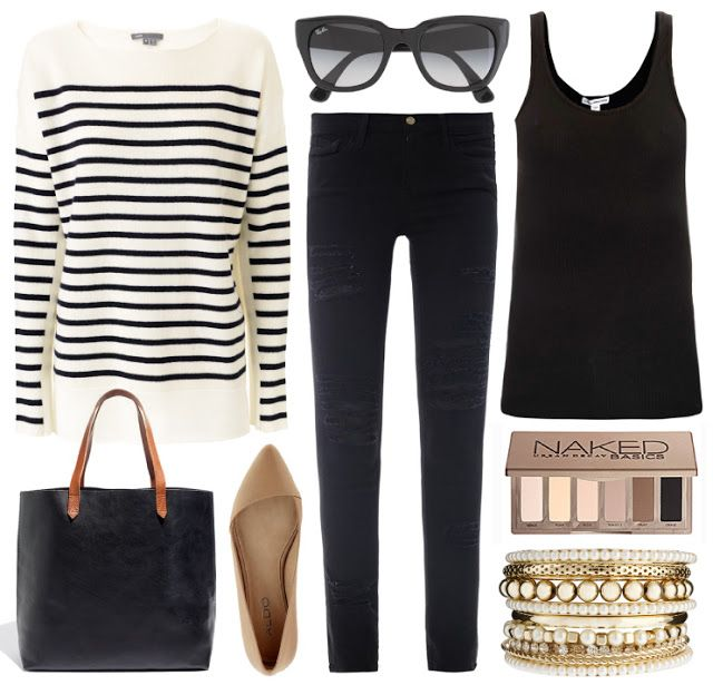 fall outfit | black, tan & stripes. cute and simple.
