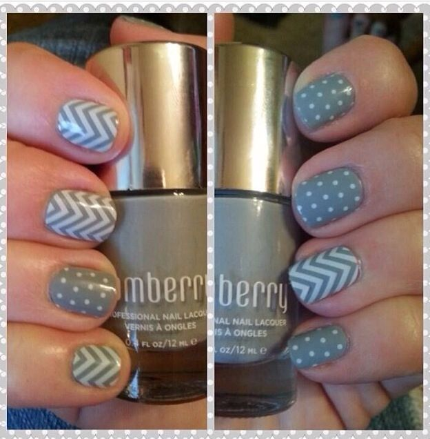 Love that you can layer our wraps - this is Ash Lacquer with White Chevron and White Mini Polka layered over. Go to www.pinkmonkey.jamberrynails.net to find all the products you need!
