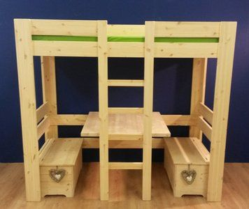 Nieuw in de collectie! Hoogslaper model Maudmet een tafel en 2 handige opbergbankjes eronder. Het bed is in een minuut om te bouwen tot stapelbed. Handig als er een vriendje of vriendinnetje blijf...