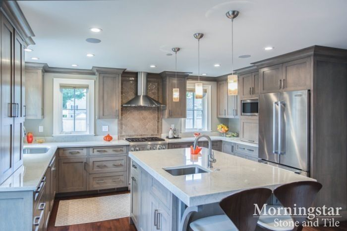 Kitchen Design Inspiration: This Gorgeous Maine Home Remodel Included A  White U0026 Grey Kitchen With Hanstone Aspen Quartz Countertops. // Find More U2026