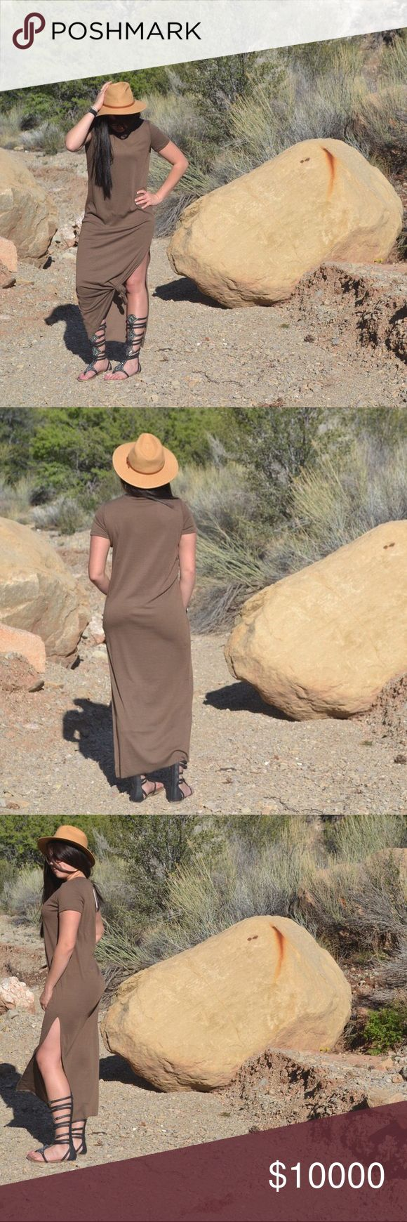 << Chic Boho Chocolate Brown Maxi Dress >> This boho chic little dress will soon be your favorite! Long length and classic fit! Loose for all day comfort! Has a slit on one side for a little peep! Let loose or tie up! Ribbed material with a thicker than jersey feel. Fits true to size. I am 6ft tall and a size 8-10 wearing the large. Other