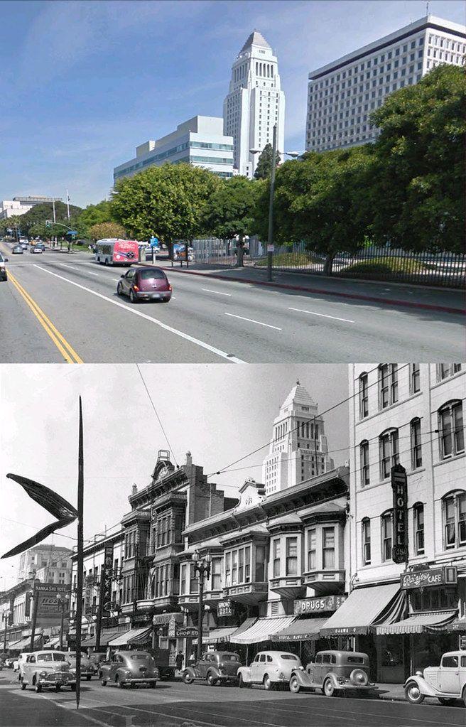 1st Street Between Los Angeles Street And San Pedro Street 1942 And Now Los Angeles History Los Angeles Architecture Vintage Los Angeles