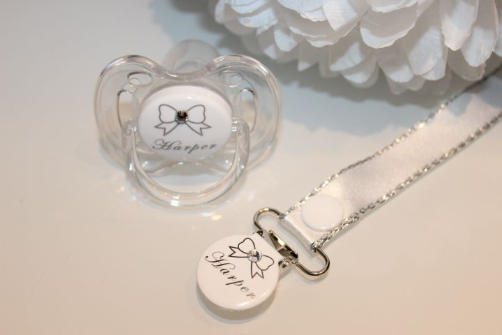 Personalised Bow Diamante Avent Dummy & Clip – Precious Gift Company