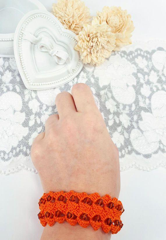 Orange crochet jewelry beaded bracelet orange crochet