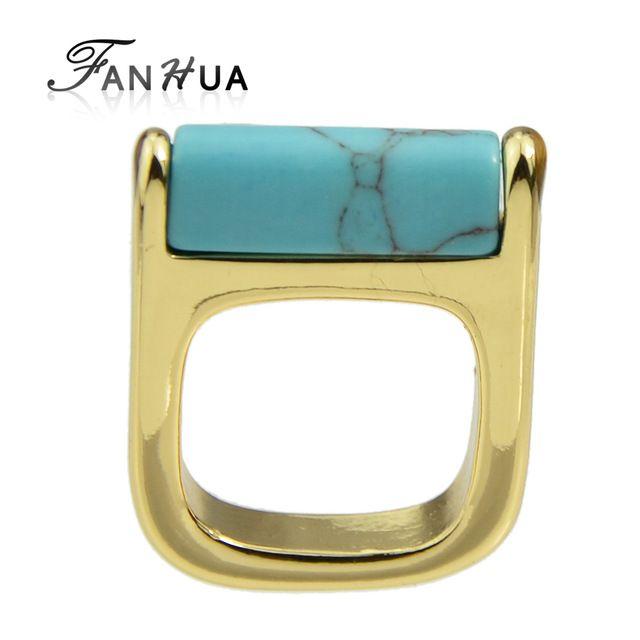 FANHUA Boho Кольцо Золотой Цвет Палец Этническом Стиле Геометрические Кольца с Бирюзой Мраморный Кольцо для Женщин Фабрики Цена