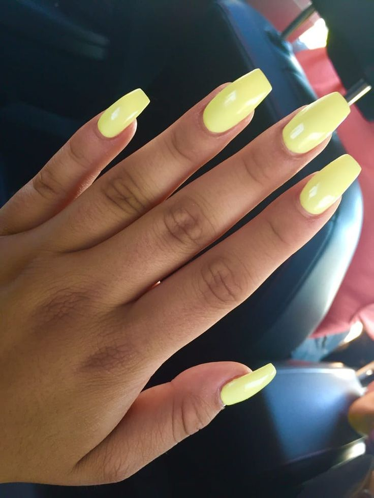 Pastel Yellow Coffin Acrylic Nails Square Acrylic Nails Yellow Nail Art Yellow Nails