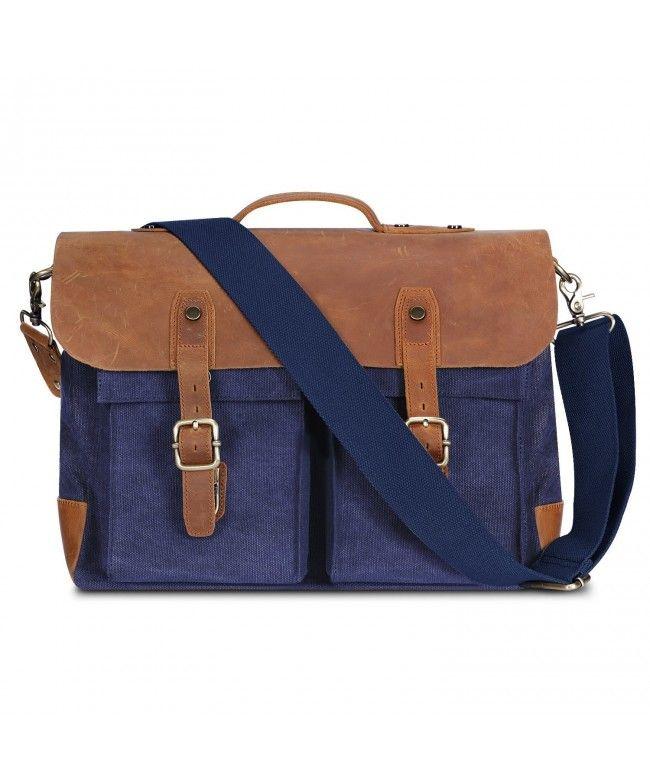 15da4c986b8c Mens Messenger Bag Leather Canvas Briefcase Crossbody Bag - Blue ...