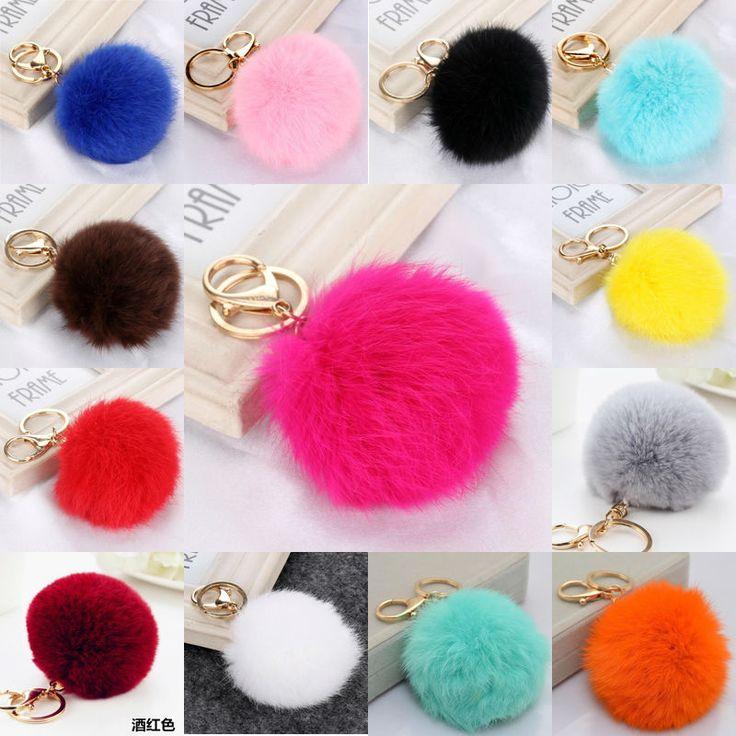 Multicolors Pink Rabbit Fur Ball Keychain Bag Plush Car Key Holder Pendant Key Chain Rings For Women 2016 New Fashion Jewelry