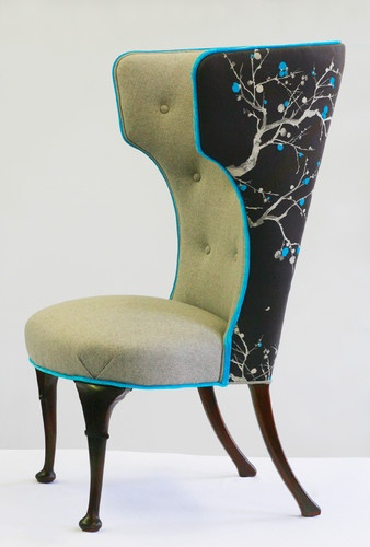 Grayson Chair by Andrea Mihalik.  With Designer's Guild fabric on the back and a British herringbone textile on the front. The contrasting fabrics incorporate the masculine and feminine notes Milhalik wanted.