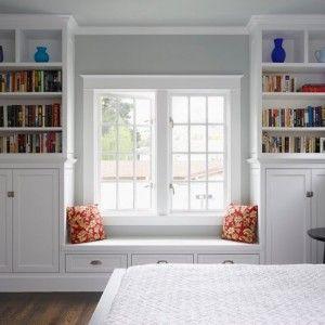 Книжные шкафы и уголок на подоконнике