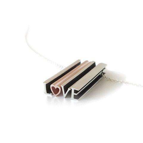 Beth Macri Custom Hidden Message Necklace L Heart VE Love Silver Charm Pendant