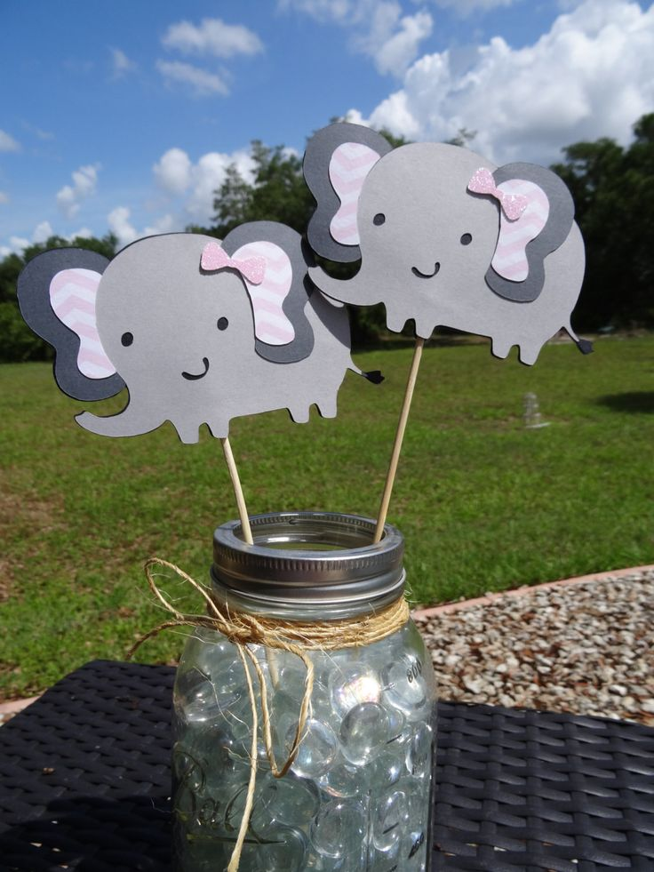 Set of gray and pink elephant centerpieces with