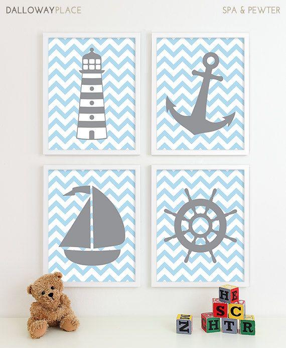 Nautical Wall Art, Nautical Kids Decor,  Navy Blue Aqua Nursery, Nautical Room Decor, Nautical Kids Wall Art, Gift for Baby Boys Nursery