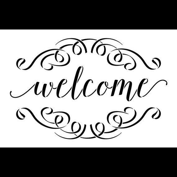 Plantilla palabra Bienvenido  cepillada Script con por StudioR12