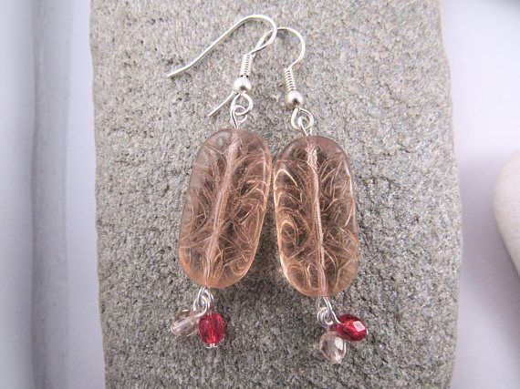Large Apricot Glass Earrings  Textured Glass Earrings
