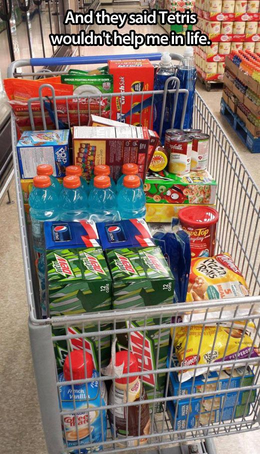Tetris skills… lol I totally do this lol, u should see the way I struggle when my husband is at the store with me & he starts grabbing everything out of the cart & putting it on the conveyor belt in no kind of order. Yes I know I should probably be on medication lol