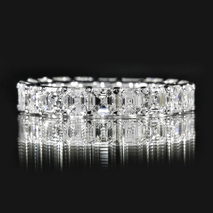 Wow, this is way too flashy for me, but gorgeous nonetheless:: 4.05 CTTW ASSCHER ETERNITY RING