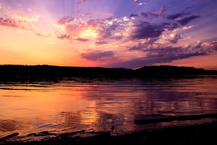 Quadra Island Sunset viewed at Drew Bay, Rebecca Spit