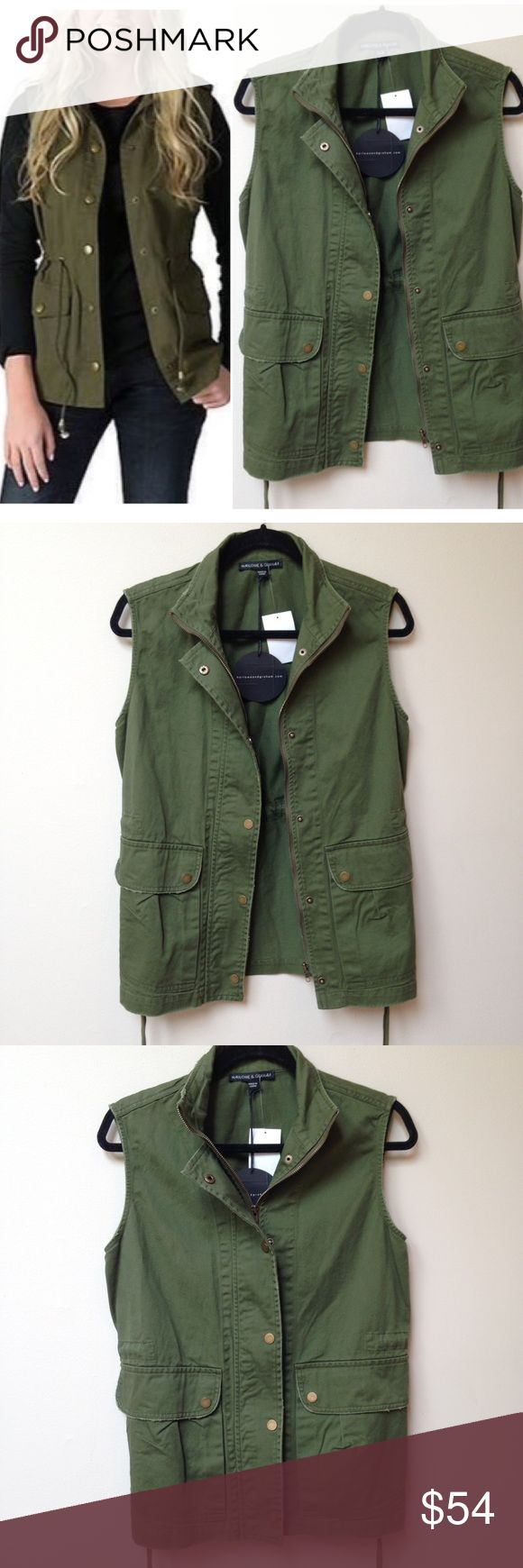 NWT Army Green Cargo Vest Brand new with tags army green cargo utility vest. Features side pockets and an adjustable drawstring waist. Perfect for layering with fall sweaters and tees!   Brand is Harlowe & Graham. Harlowe and Graham Jackets & Coats Vests
