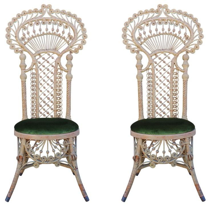 Attractive Antique Victorian Wicker Chairs