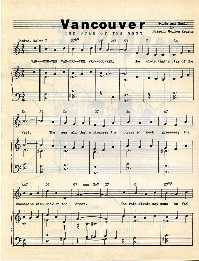 """""""Vancouver, the Star of the West,"""" Words and Music by Russell Gordon Kearns  