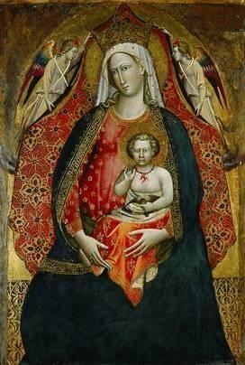 Giovanni dal Ponte (1385 - 1437/8), Madonna col Bambino e angeli , 1410s. foglia oro lavorato e tempera su tavola, 88,3 x 57,8 centimetri. Blanton Museum of Art , Austin, TX, Stati Uniti d'America .