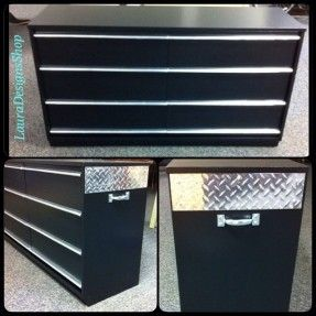 Tool Box Dresser  •Boys Tool Box  •black dressers   •little boys furniture  •race car dresser  •furniture ideas  •race car themes