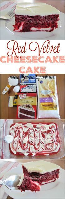 Red Velvet Cheesecake Cake recipe from The Country Cook. Red Velvet Cake with swirls of cream cheese filling topped with a velvety frosting. The most amazing dessert ever! (Red Velvet Cheesecake Recipes)