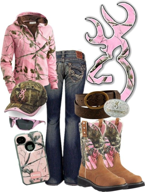 """Browning in Pink Camo"" by rinergirl ❤ liked on Polyvore. A little to much pink for me but I like the outfit anyway."