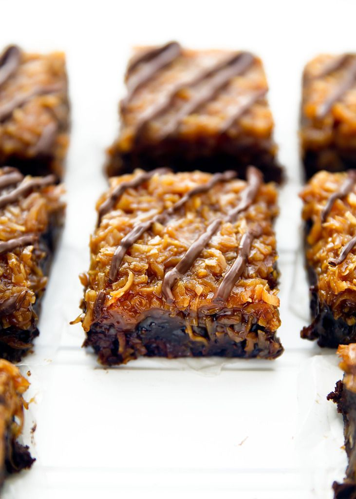 Samoas Brownies. Brownies topped with a homemade coconut caramel sauce and drizzled with chocolate! | via Broma Bakery