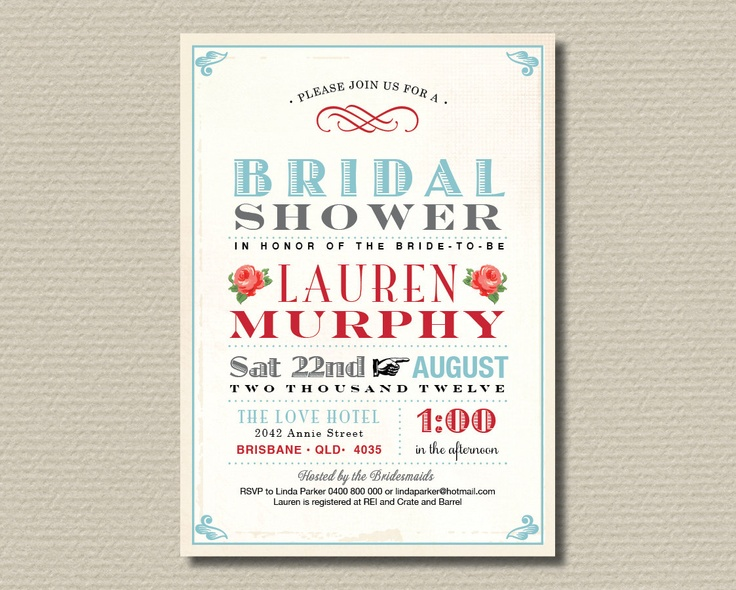 Printable Bridal Shower Invitation - Sweet vintage poster design with red roses and blue (BR46)