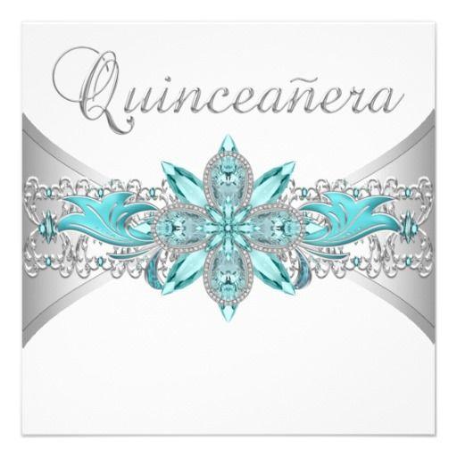Turquoise Blue Silver #Quinceanera Invitations #Quinceañera