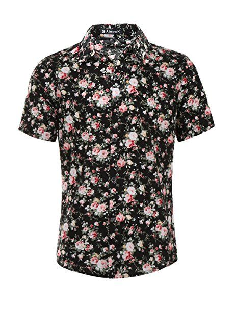 1bc0ed59a49a Allegra K Men Short Sleeve Button Front Floral Print Cotton Beach Hawaiian  Shirt at Amazon Men s Clothing store