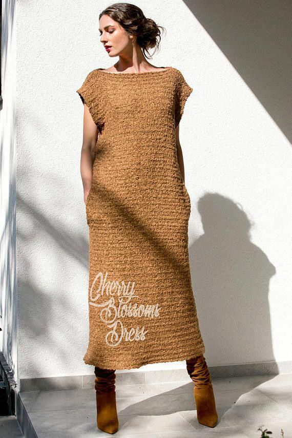 a19431eff28 Brown dress  Knitted dress  oversized dress  Long dress    crochetdressesbeautiful