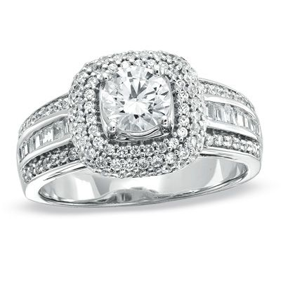 Diamond Square Frame Engagement Ring In White Gold Clearance Zales
