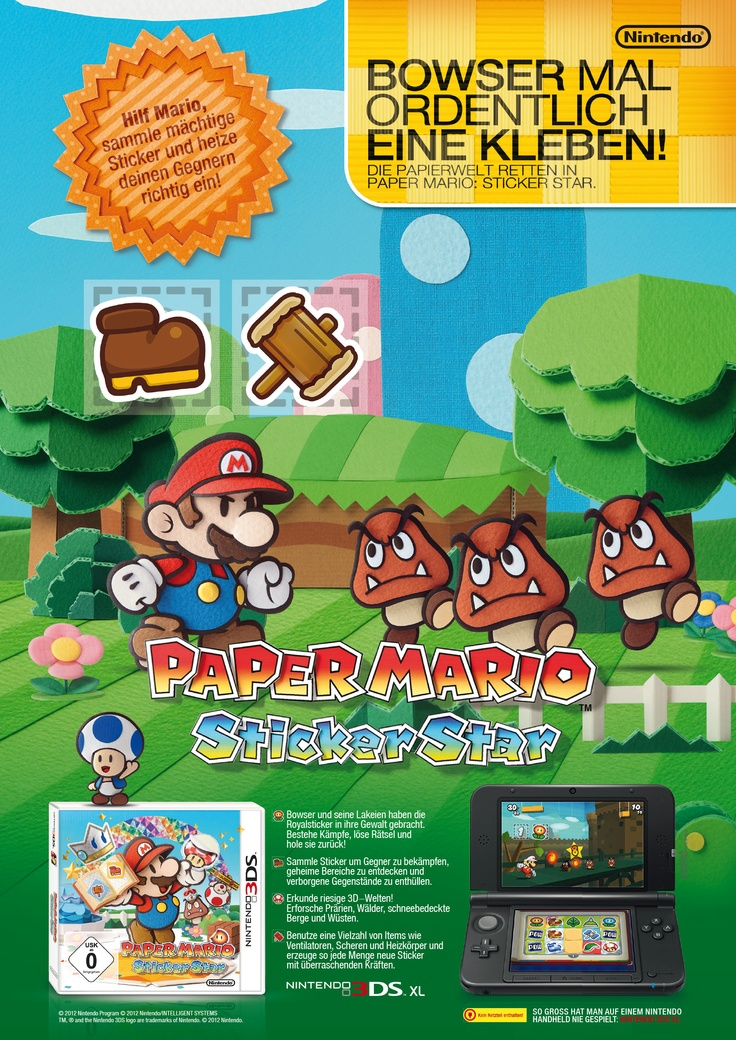 Advert . Paper Mario Sticker Star . Nintendo 3DS