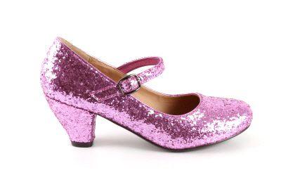 Salon Merceditas en Glitter Rosa para Niñas con tacon Ancho